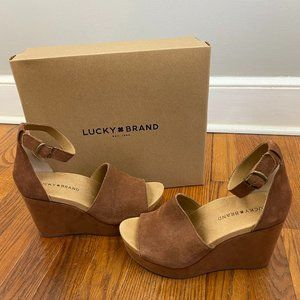 Lucky Brand Yemisa Wedge Sandals Umber Oiled Suede
